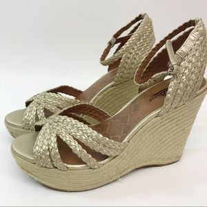 Lucky Brand Beige Rope Wedge Sandals Size 9